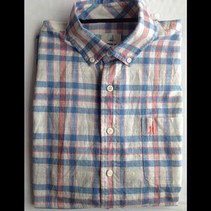 Johnnie-O White Blue Plaid Button Down Shirt Sz M